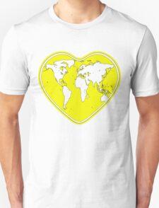 Love Global T-Shirt Emblem Yellow, White Text Unisex T-Shirt