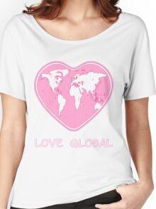 Love Global T-Shirt Emblem Pink Women's Relaxed Fit T-Shirt