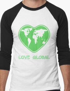 Love Global T-Shirt Emblem Green Men's Baseball ¾ T-Shirt
