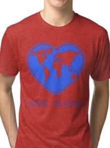 Love Global T-Shirt Emblem Blue Tri-blend T-Shirt