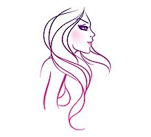 Beautiful woman doodle art Photographic Print