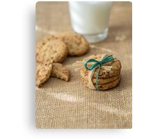 Homemade cookies and milk Canvas Print
