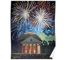 Fireworks Over The Rotunda Poster