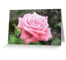 Pink Roses in Anzures 4 Watercolor Greeting Card