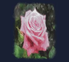 Pink Roses in Anzures 4 Watercolor One Piece - Short Sleeve