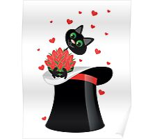 cat holding a flowers Poster