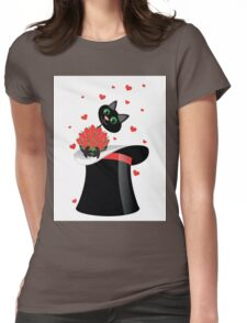 cat holding a flowers Womens Fitted T-Shirt