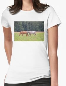 Playful Horses Womens Fitted T-Shirt