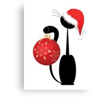 black Christmas kitten with  red  big ball Canvas Print