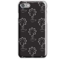 black seamless background with cup and flower iPhone Case/Skin