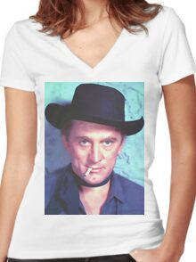 Kirk Douglas in Man Without a Star Women's Fitted V-Neck T-Shirt
