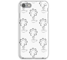 white seamless background with cup and flower iPhone Case/Skin