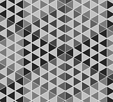 Geometric Cubes - Greyscale by Aeleina