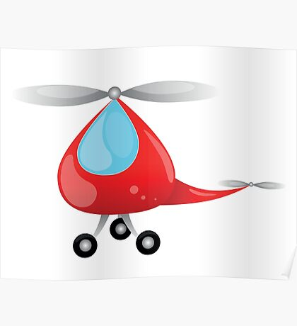 big red toy helicopter for  small children Poster