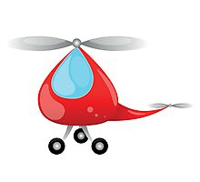 big red toy helicopter for  small children Photographic Print