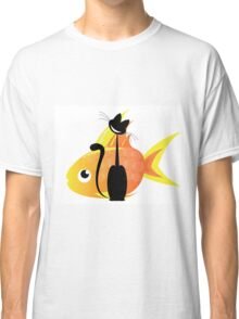 Big black cat and big gold fish Classic T-Shirt