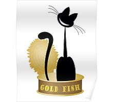 cat on gold of canned tuna fish on a white background Poster