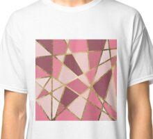 Girly Chic Pink & Burgundy Geo Gold Triangles Classic T-Shirt