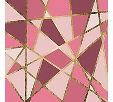 Girly Chic Pink & Burgundy Geo Gold Triangles Photographic Print