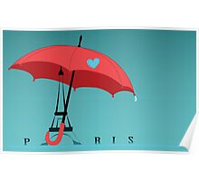 Eiffel Tower with an  umbrella in Paris, France. Poster