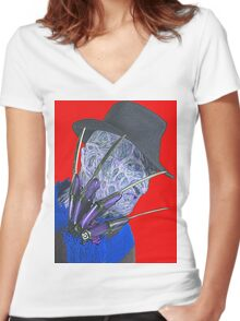 Robert Englund in A Nightmare on Elm Street Women's Fitted V-Neck T-Shirt