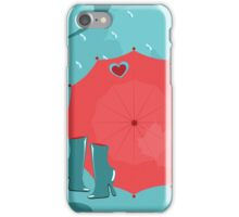 seamless pattern  with umbrellas, boots, leaft, clouds and rain iPhone Case/Skin
