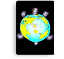 Turtle Shell World Map Canvas Print