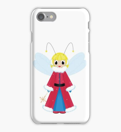 christmas fairy in red  on white background iPhone Case/Skin