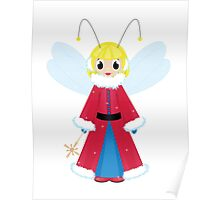 christmas fairy in red  on white background Poster