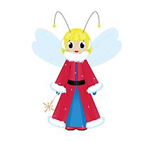 christmas fairy in red  on white background Photographic Print