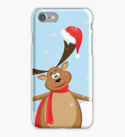 big reindeer with Santa hat and  green ball iPhone Case/Skin