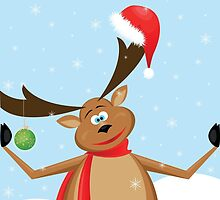 big reindeer with Santa hat and  green ball by Irinavk