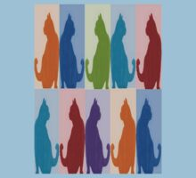 Silhouette Cat Collage Pattern New Media Art T-Shirt