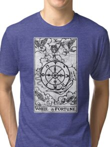 Wheel of Fortune Tarot Card - Major Arcana - fortune telling - occult Tri-blend T-Shirt