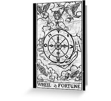 Wheel of Fortune Tarot Card - Major Arcana - fortune telling - occult Greeting Card