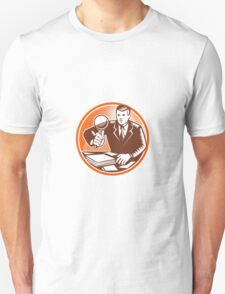 Businessman Magnifying Glass Looking Documents Unisex T-Shirt