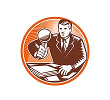 Businessman Magnifying Glass Looking Documents by patrimonio