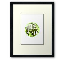 Businessman Presenting Boardroom Woodcut Framed Print