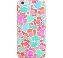 Pastel Tropical Floral Pattern Design with watercolor texture iPhone Case/Skin