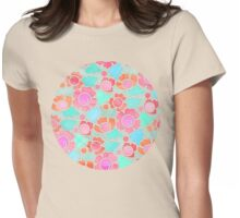 Pastel Tropical Floral Pattern Design with watercolor texture Womens Fitted T-Shirt