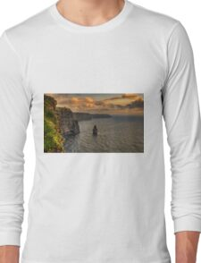 cliffs of moher scenic sunset landscape seascape ireland Long Sleeve T-Shirt