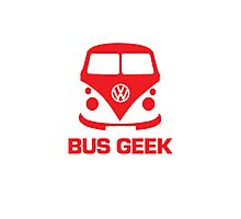 VW Bus Geek Red Photographic Print