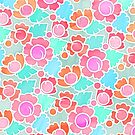 Pastel Tropical Floral Pattern Design with watercolor texture by micklyn