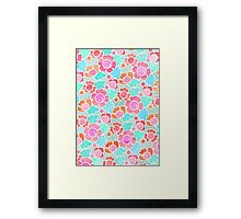 Pastel Tropical Floral Pattern Design with watercolor texture Framed Print