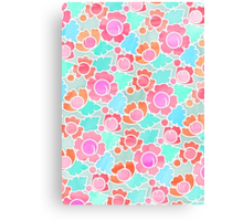 Pastel Tropical Floral Pattern Design with watercolor texture Canvas Print