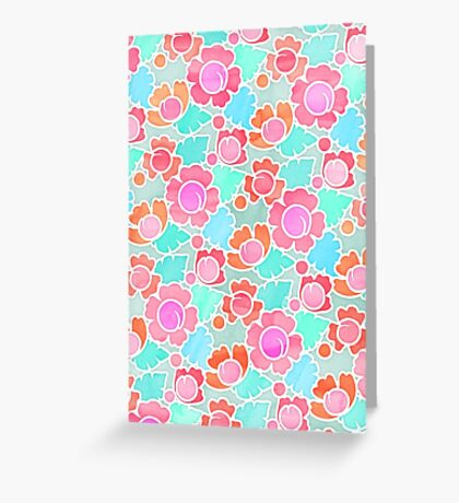 Pastel Tropical Floral Pattern Design with watercolor texture Greeting Card