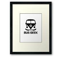 VW Camper Bus Geek Black Framed Print