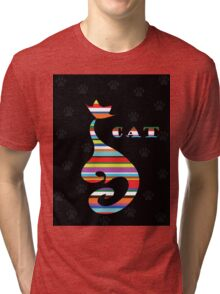 varicoloured Cat  on black background with paw Tri-blend T-Shirt