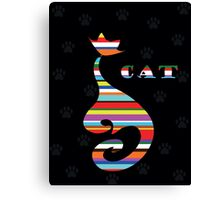 varicoloured Cat  on black background with paw Canvas Print