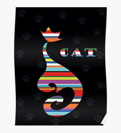varicoloured Cat  on black background with paw Poster